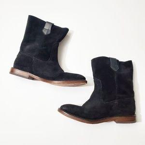 HUDSON Suede Black Leather Mid Calf Boots EUC